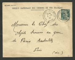 36 - INDRE / Cachet ENTREPOT ARGENTON / Enveloppe Marianne De Gandon 1945 - Marcophilie (Lettres)