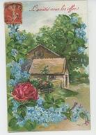 """FLEURS - Jolie Carte Fantaisie Fleurs Roses Et Myosotis """"L'Amitié Vous Les Offre """" - Flowers"""