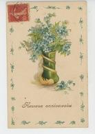 """FLEURS - Jolie Carte Fantaisie Gaufrée Myosotis """"Heureux Anniversaire """" (embossed Postcard) - Flowers"""