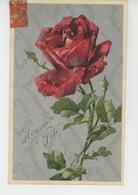 "FLEURS - Jolie Carte Fantaisie Gaufrée Rose Rouge ""Heureuse Fête "" (embossed Postcard) - Flowers"