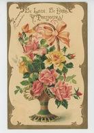 """FLEURS - Jolie Carte Fantaisie Gaufrée Avec Dorures Roses Dans Panier """"De Loin, De Près,toujours """" (embossed Postcard) - Flowers"""