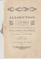 ALLOCUTION - MARIAGE DE JEAN & GERMAINE - 1919 - EGLISE DE CRULAI - ABBÉ C. LECOMTE - CURE DOYEN DE ST MARTIN DE L'AIGLE - Documents Historiques