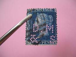 Perforé Perfin Lochung , Great Britain  QV 2p Bleu  DM&S - Grande Bretagne Queen Victoria 2p Bleu   See, à Voir - Perfins