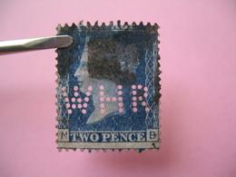 Perforé Perfin Lochung , Great Britain  QV 2p Bleu  WHR - Grande Bretagne Queen Victoria 2p Bleu   See, à Voir - Perfins