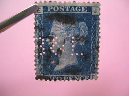 Perforé Perfin Lochung , Great Britain  QV 2p Bleu  B&L - Grande Bretagne Queen Victoria 2p Bleu   See, à Voir - Perfins