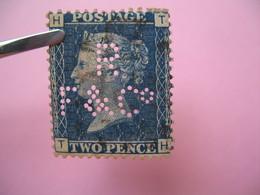 Perforé Perfin Lochung , Great Britain  QV 2p Bleu  RF&C° - Grande Bretagne Queen Victoria 2p Bleu   See, à Voir - Perfins