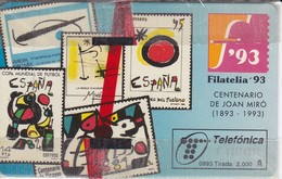 TARJETA FILATELIA'93 TIRADA 2000 NUEVA-MINT  (SELLO-STAMP) PINTURA JOAN MIRO-PICASSO - Sellos & Monedas