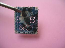 Perforé Perfin Lochung , Great Britain  QV 2p Bleu  SB&C° - Grande Bretagne Queen Victoria 2p Bleu   See, à Voir - Perfins