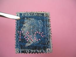 Perforé Perfin Lochung , Great Britain  QV 2p Bleu  T&C° - Grande Bretagne Queen Victoria 2p Bleu   See, à Voir - Perfins