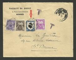 Complément Blason Corse / Lettre Taxée Simple 4.50 De RENNES 12.02.1947 >>> SAINT BRIEUC - Postmark Collection (Covers)