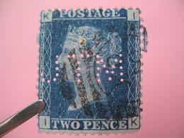 Perforé Perfin Lochung , Great Britain  QV 2p Bleu  JTM - Grande Bretagne Queen Victoria 2p Bleu   See, à Voir - Perfins