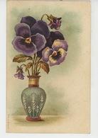 FLEURS - Jolie Carte Fantaisie Pensées Dans Vase - Flowers