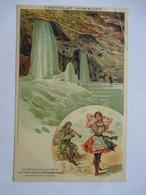 CHOCOLAT LOMBARD    -  LES  CAVES DE GLACE DE DOBSCHAU  ( HONGRIE  )         PLI HAUT D. - Publicité