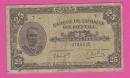 FRENCH WEST AFRICA - AOF Billet 25 F.- Pick 30a - VG - États D'Afrique De L'Ouest