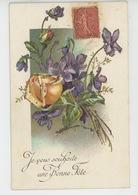 """FLEURS - Jolie Carte Fantaisie Pailletée Fleurs Violettes Et Rose """"Je Vous Souhaite Une Bonne Fête """" - Flowers"""