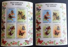 Ghana  1982 Butterflies S/S Perf,and Imperf - Ghana (1957-...)