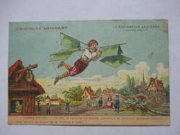 CHOCOLAT LOMBARD    - LA NAVIGATION AERIENNE  -  L'HOMME VOLANT       MINI PLI HAUT D. - Publicité