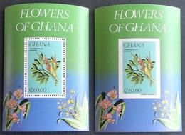 Ghana   1984 Local Flowers S/S Perf And Imperf. - Ghana (1957-...)