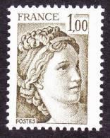 France Sabine De Gandon N° 2057 ** Le 1.00 Fr Olive - 1977-81 Sabine Of Gandon
