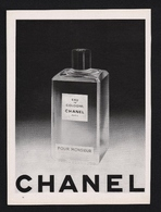 Pub 1956  Parfum Parfumeur CHANELeau De Cologne Parfums POUR MONSIEUR  Flacon Ads - Publicités
