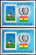 Ghana  1985 Intl.Youth Year S/S Imperf And Perf. - Ghana (1957-...)