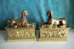 XIXème VERS 1850 Paire De Bronze Doré. SPHINX BRONZE DORE. Barre De Cheminée. TBE. - Bronzes