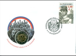 SLOVAQUIE - 2 Euro 2019 - Stefanik  - ENVELOPPE PHILATELIQUE - Slovakia