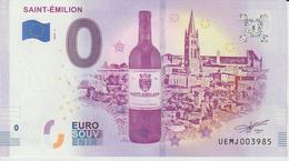 Billet Touristique 0 Euro Souvenir France 33 Saint Emilion 2019-1 N°UEMJ003985 - Essais Privés / Non-officiels