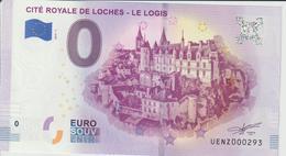 Billet Touristique 0 Euro Souvenir France 37 Loches Logis 2019-1 N°UENZ000293 - EURO