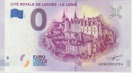 Billet Touristique 0 Euro Souvenir France 37 Loches Logis 2019-1 N°UENZ000294 - EURO