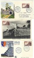 France, Lot De 3 FDC, Thématique Les Remparts De Brouage 1955 ( 2 FDC Et 1 Carte Maximum ) - FDC