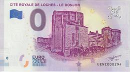 Billet Touristique 0 Euro Souvenir France 37 Loches Donjon 2019-2 N°UENZ000294 - Essais Privés / Non-officiels