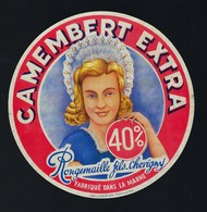 "étiquette Fromage  Camembert Fabriqué Dans La Marne 40%mg Rougemaille Fils Chevigny ""femme, Coiffe"" - Cheese"
