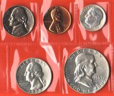 USA Set 1959 1 Cent + 5 Cents + 10 Cents  + Quarter + Half Dollar Franklin  United States Of America - Emissioni Federali