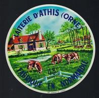 """étiquette Fromage  Camembert Fabriqué En Normandie Laiterie D'Athis Orne 61J """"vaches"""" 45%mg - Cheese"""