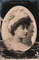 CPA - FANTAISIE - Illustration PÂQUES - Portrait De Femme - Photo REUTLINGER - Pâques