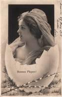 CPA - FANTAISIE - Illustration PÂQUES - Portrait De Femme - Pâques