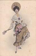 CARTE FANTAISIE. CPA COLORISÉE. FEMME ET ROSES. ILLUSTRATION VIENNOISE ANNEE 1914 - Illustrators & Photographers