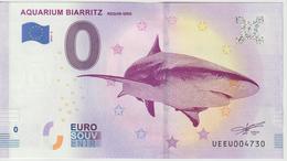 Billet Touristique 0 Euro Souvenir France 64 Aquarium Biarritz 2019-4 N°UEEU004730 - Essais Privés / Non-officiels