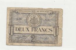 BILLET CHAMBRE DE COMMERCE -    DE PERONNE  DEUX  FRANCS    1920 - Chambre De Commerce