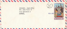Liberia Air Mail Cover Sent To Denmark Monrovia 1-5-1973 Single Franked - Liberia