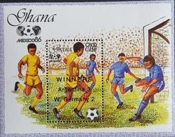 Ghana  1989 World Cup Soccer 1986 Surcharged WINNERS S/S - Ghana (1957-...)