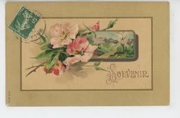 """FLEURS - Jolie Carte Fantaisie Gaufrée Fleurs Roses """"Souvenir """" (embossed PC) - Flowers"""