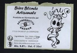 Etiquette Biere Blonde Artisanale Vénus   6,8% 33-cl   Brasserie Astronautus Berger  Daubeuf La Campagne 27 - Beer