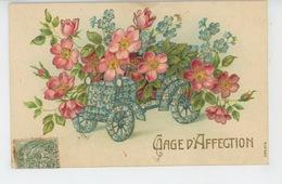"""FLEURS - Jolie Carte Fantaisie Gaufrée Fleurs Roses Dans Automobile Myosotis """"Gage D'Affection """" (embossed PC) - Flowers"""