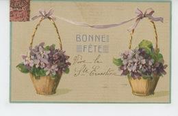 """FLEURS - Jolie Carte Fantaisie Gaufrée Fleurs Violettes """"Bonne Fête """" Pour La Ste ERNESTINE (embossed PC) - Flowers"""