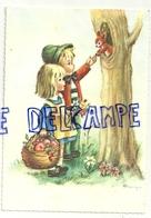 Deux Enfants, écureuil, Panier De Fruits. Signée Mariapia - Otros Ilustradores