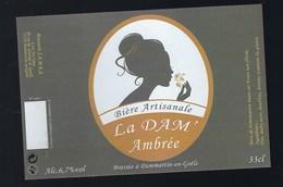 Etiquette Biere Artisanale Ambrée La Dam' 6,7% 33-cl   Brasserie JAMES Dammartin En Goele - Bière
