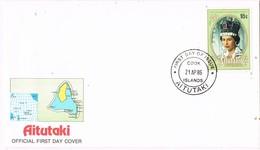 32796. Carta F.D.C. COOK Islands, AITUTAKI 1986. Anniversary Queen Elisabeth II - Aitutaki