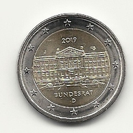 2 Euro, 2019, Bundesrat, Prägestätte (J), Vz, Sehrgut Erhaltene Umlaufmünze - Germany